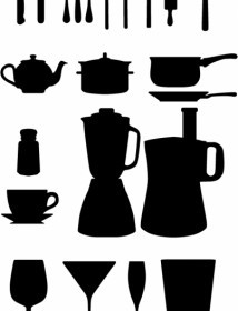 Vector Kitchen Appliances Silhouettes Vector Graphics