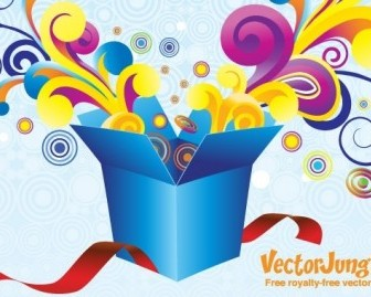 Vector FREE VECTOR GROOVY GIFT BOX Vector Art
