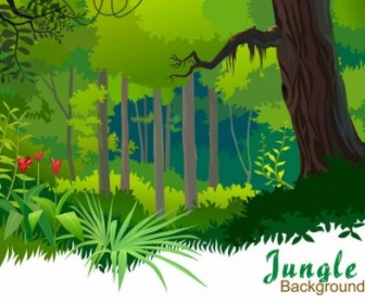 Vector Beautiful Landscape With Trees Background Vector Art