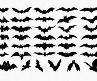 Vector Set Of Halloween Bat Silhouette Silhouettes Vector Graphics