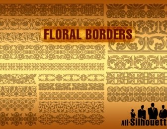 Vector Floral Borders Silhouettes Vector Graphics