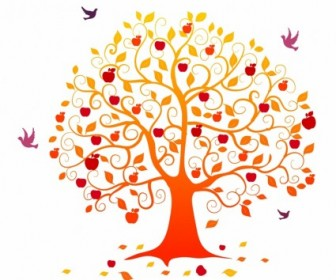 Vector Autumn Tree Plant Vector Graphics