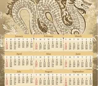 Vector 2012 Calendar Year Of The Dragon Vector Art