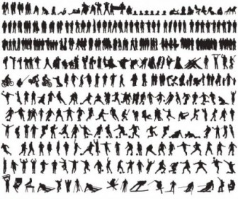 Vector Commercial Black And White Silhouette 01 Silhouettes Vector Graphics