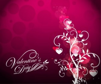 Vector Valentine's Day Floral On Red Background Vector Art