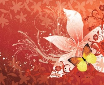 Vector Butterfly Flower Vector Art