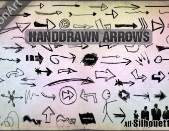 Vector Hand Drawn Arrows Silhouettes Vector Graphics