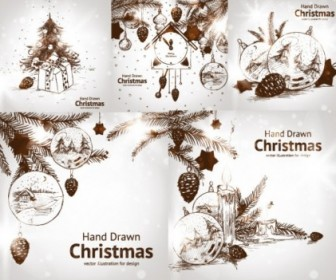 Vector Handpainted Style Decorations Christmas Vector Graphics