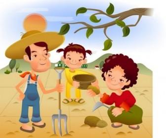 Family Life Cartoon Illustration Vector