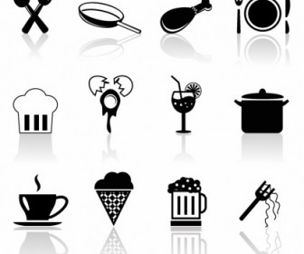 Simple Food Icons Vector Collection