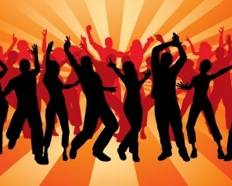 Silhouette Peoples Dancing Vector Background