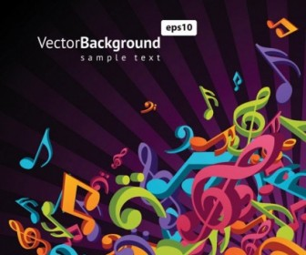 Music Notes 3D Vector Background