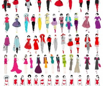 Cartoon Fashion Characters Vector Collection