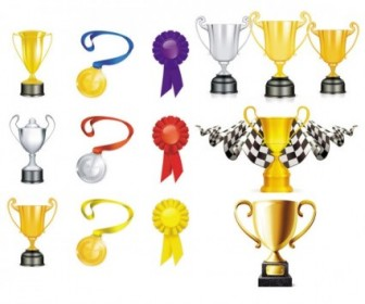 Gold Silver Medal Vector Elements