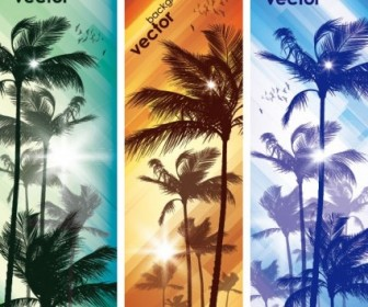 Coconut Trees Vector Banner