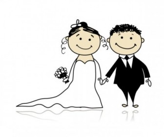 Vector Wedding Cartoon Bride and Bridegroom