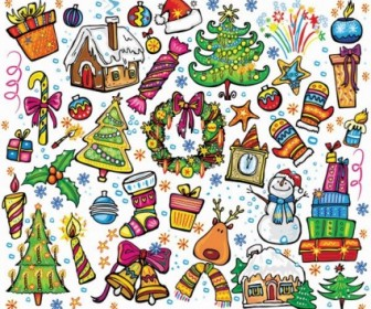 Hand Drawn Christmas Elements Vector