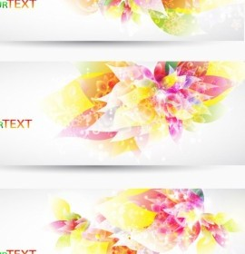 Fantasy Flower Background Vector Banner