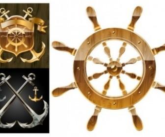 Nautical Anchor Wheel Vectors