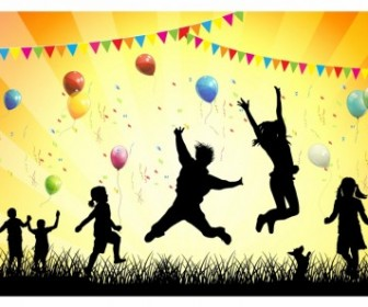 Vector Silhouette Children in Party