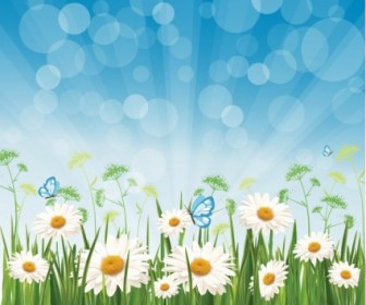 Spring Morning Flower Vector Art