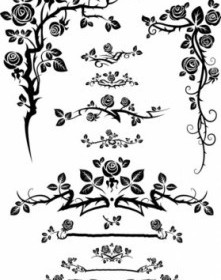 Vector Flowers Silhouette Lace 01 Flower Vector Art