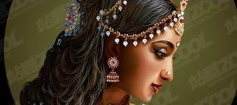 Vector Standard Indian Beauty Women Nature Vector Graphics