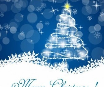 Christmas Tree Vector with Stars Decoration