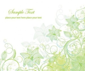 Green Floral Frame Vector Decoration