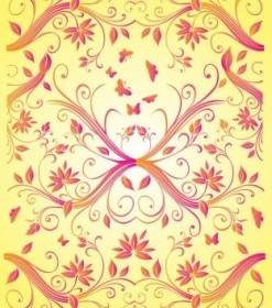 Red Summer Flower Vector Pattern