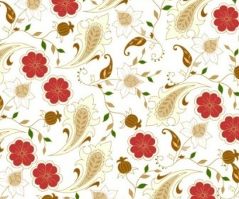Vector Floral Seamless In Retro Colors Background Vector Art