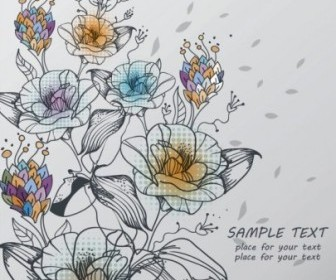 Hand Painted Flower Pattern Vector Background