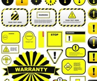 Vector Yellow Warning Signs And Labels 01 Vector Art