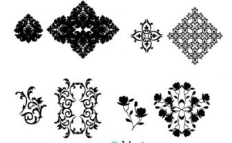Vector Four Ornaments Floral Vector Art