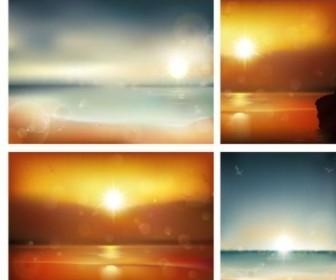 Sea Sunset Vector Background