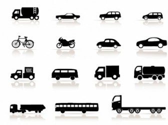 Silhouette Vehicle Vector Icons