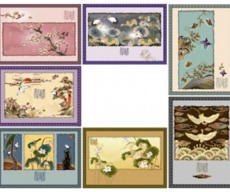 Vintage Painting Flower Frames Vector