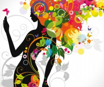 Fashion Floral Silhouette Girl Vector