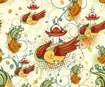 Cartoon Birds Pattern Vector Art