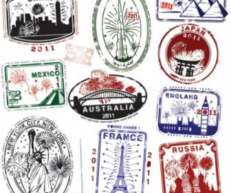 World Landmarks Seal Vector Pack