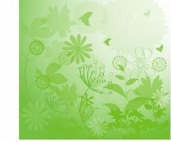 Grunge Floral Green Background Vector Art