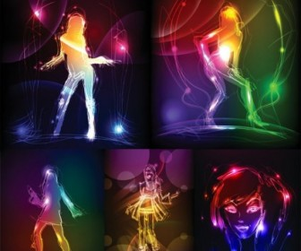 Vector Girl in Light Effects
