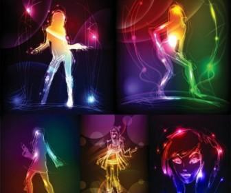 Vector Girl in Light Effects