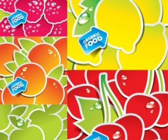 Vector Lovely Fruit Stickers Vector Art