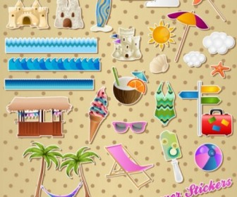 Vector Lovely Seaside Stickers 01 Vector Art