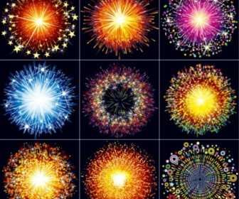 Vector Colorful Fireworks 02 Vector Art