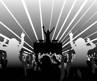 Vector Dj And Dancing Supertype Figure Silhouette Silhouettes Vector Graphics