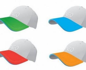 Vector Colourful Baseball Caps Vector Art