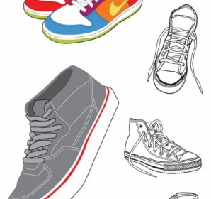 Vector Sports And Canvas Shoes Vector Art