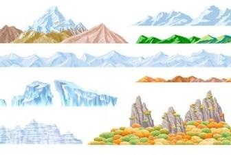 Vector Beautiful Mountains Vector Art